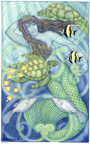 Mermaid Dream Time - Painting by Francene Hart